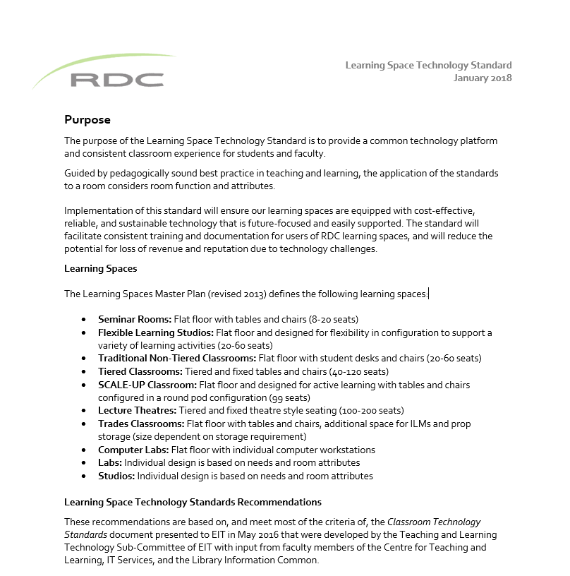 Preview of the Learning Space Technology Standard Document